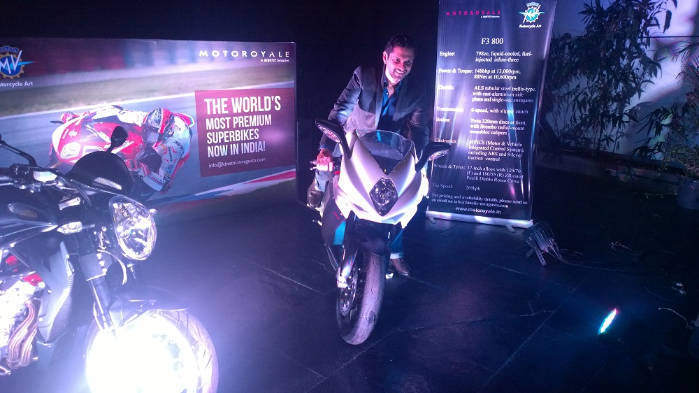 KWPL's MD, Mr Ajinkya Firodia unveils the MV Agusta F3 800 and Brutale 1090 at blueFROG in Pune