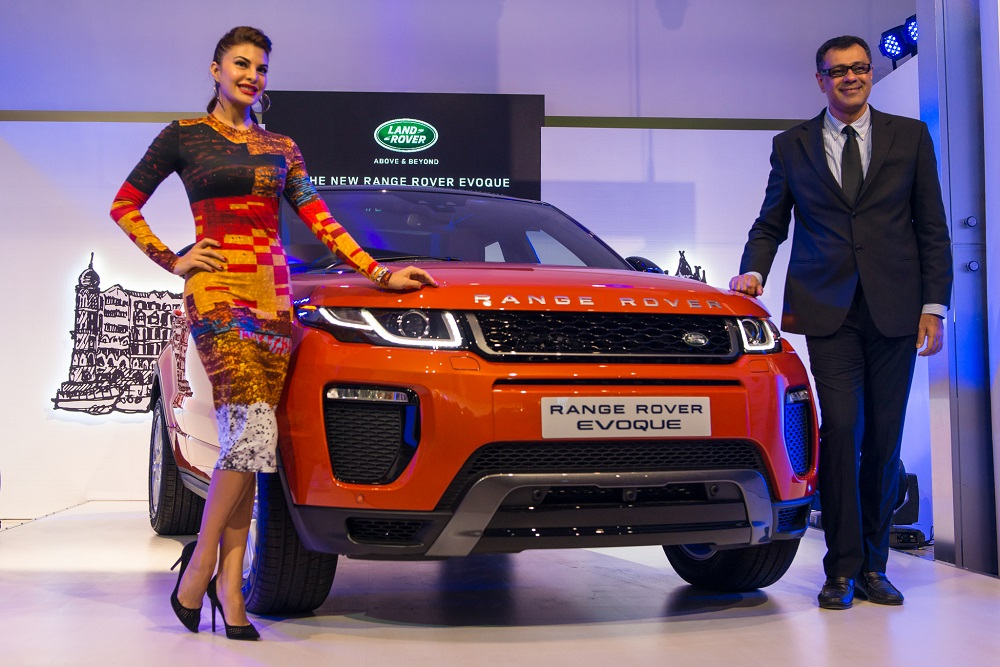 Mr. Rohit Suri, President, Jaguar Land Rover India Ltd and Jacqueline Fernandez at the launch of MY16 Range Rover Evoque