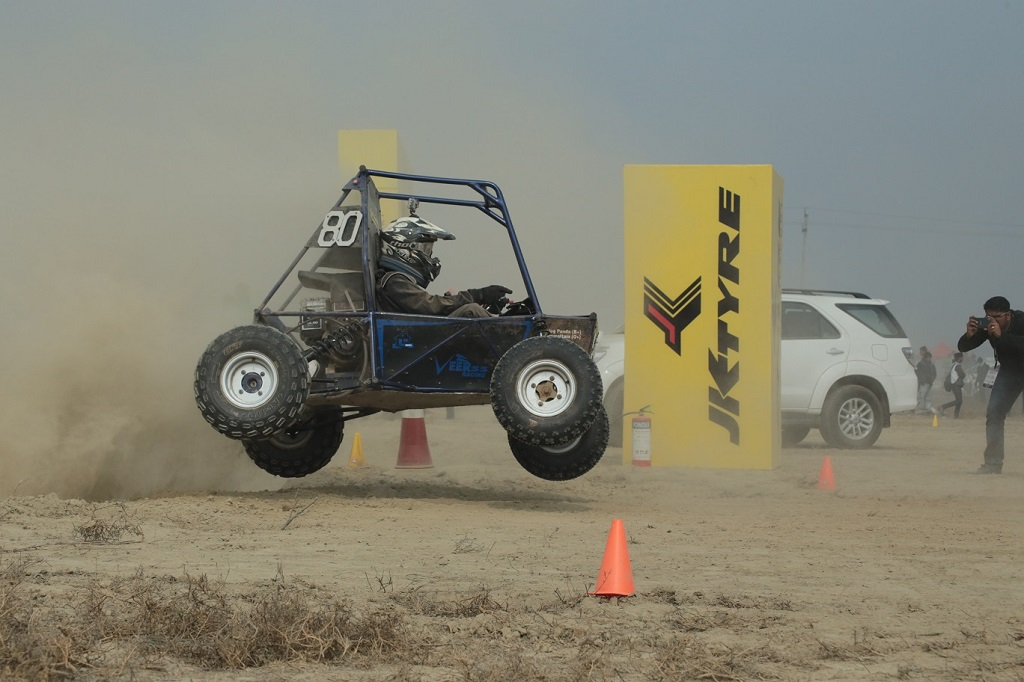 An all terrain vehicle in the air at the Enurance race on the final day of Baja Student India 2016 at Buddh International Circuit, Greater Noida_small
