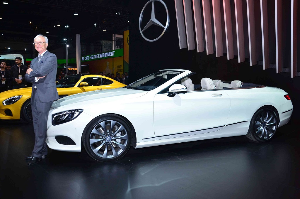 Roland Folger MD CEO Mercedes-Benz India with the S Class Cabriolet at the Auto Expo 2016