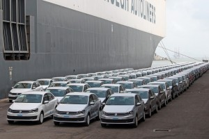 Volkswagen cars lined up for shippingEdited