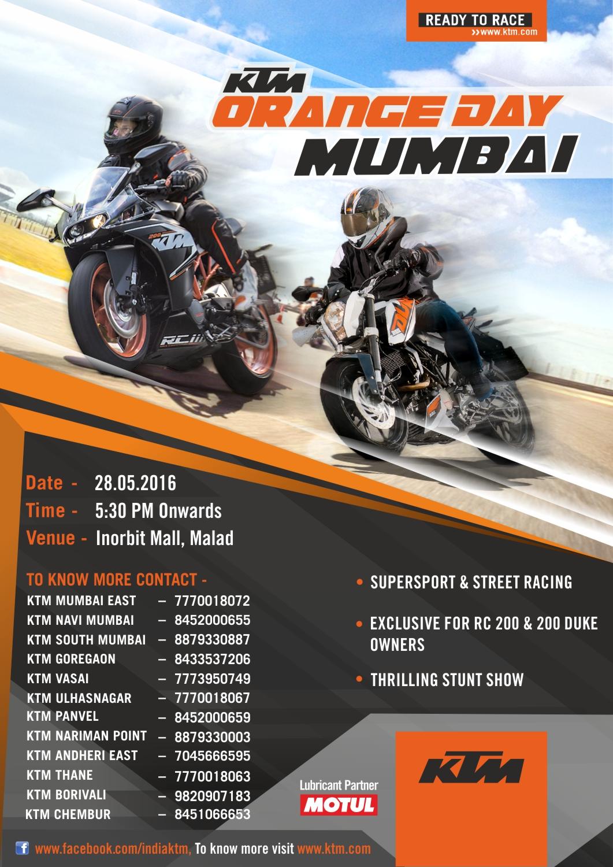 KTM to organize Orange Day in Mumbai on 28th May, 2016