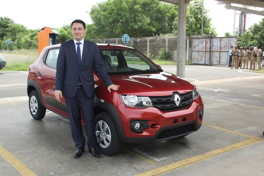 Ambassador of France, Mr. Alexandra Ziegler with the Renault KWID at the Renault-Nissan Alliance plant in Chennai.