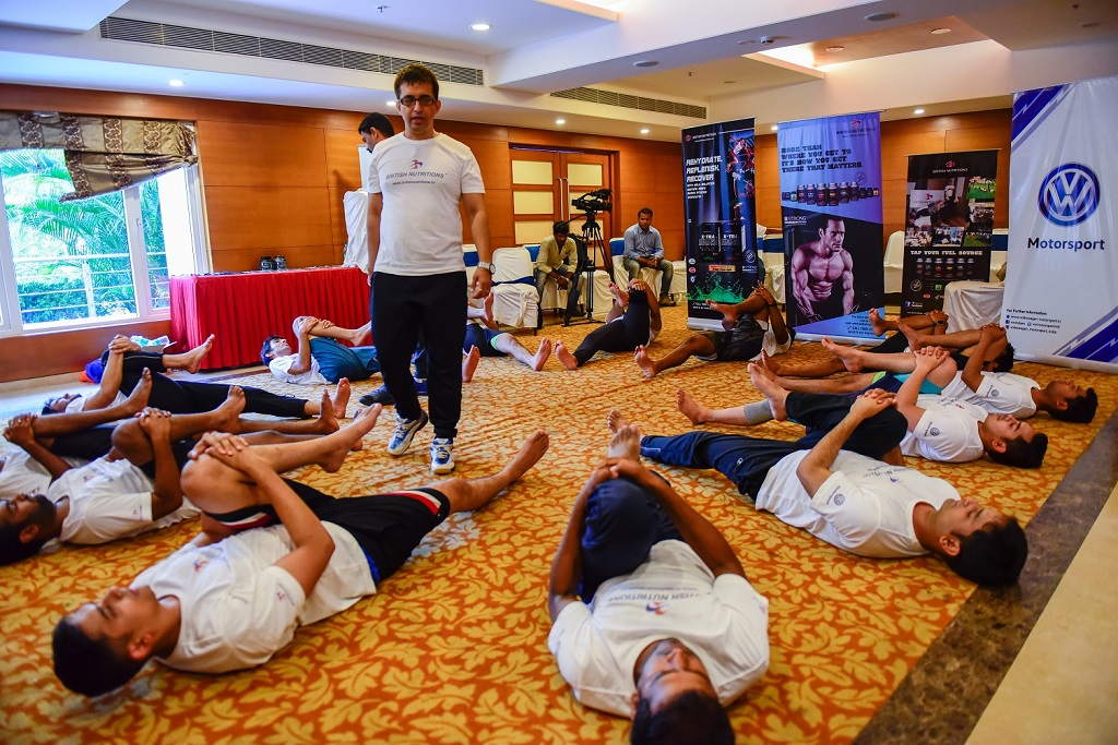 Fitness expert from British Nutrition overlooking the fitness sessions