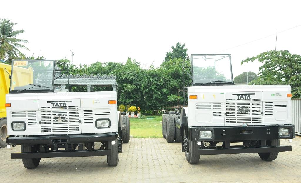 Tata Motors' Commercial Vehicles displayed at 'Ek Shaam Saarthi Ke Naam', a fun filled engagement program for over 400 truck drivers in Bangalore.