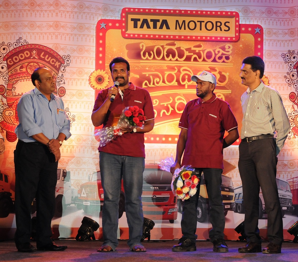 The country's first Indian truck racers, who participated at the recently concluded T1 Prima Truck Racing Championship 2016, being felicitated at Ek Shaam Saarthi Ke Naam', a fun filled engagement program for over 400 truck drivers in Bangalore.
