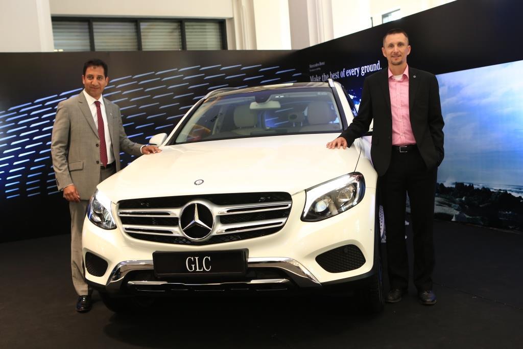 Mr  Boris Fitz Vice President Sales and Network Development Mercedes-Benz India and Arun Surendra Managing Director Titanium Motors launching the Mercedes-Benz GLC