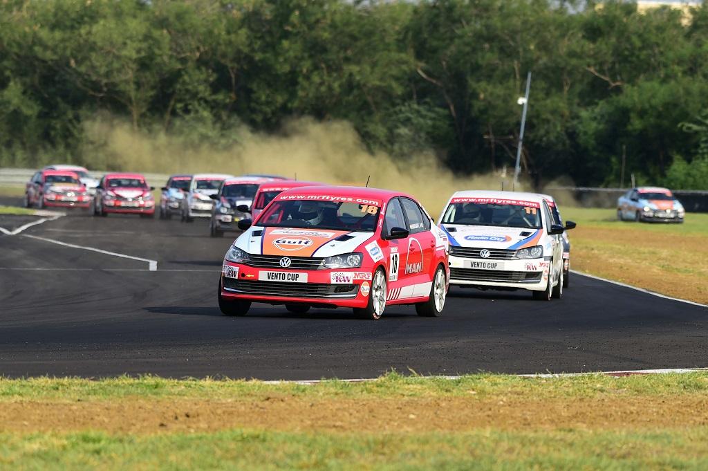 Niranjan Todkari leading Race 5 of Vento Cup 2016 ahead of Keith Desouza...