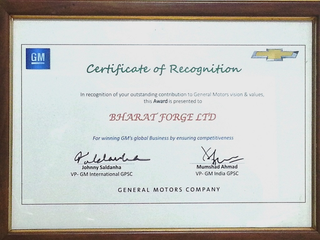 Bharat Forge Awarded Certificate Of Recognition By General