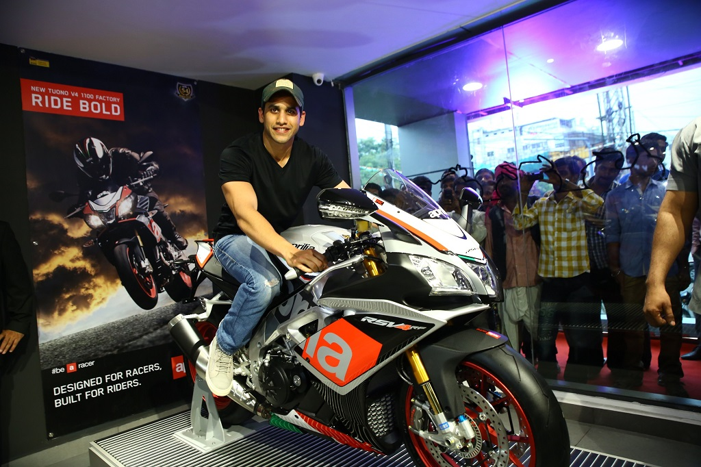 Tollywood heartthrob, Naga Chaitanya on Aprilia RSV4 RF at the launch of Motoplex - Hyderabad
