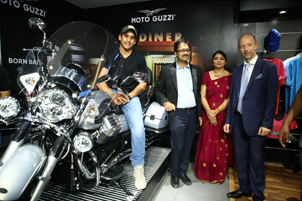 Tollywood heartthrob, Naga Chaitanya on MotoGuzzi California Touring at the launch of Motoplex - Hyderabad