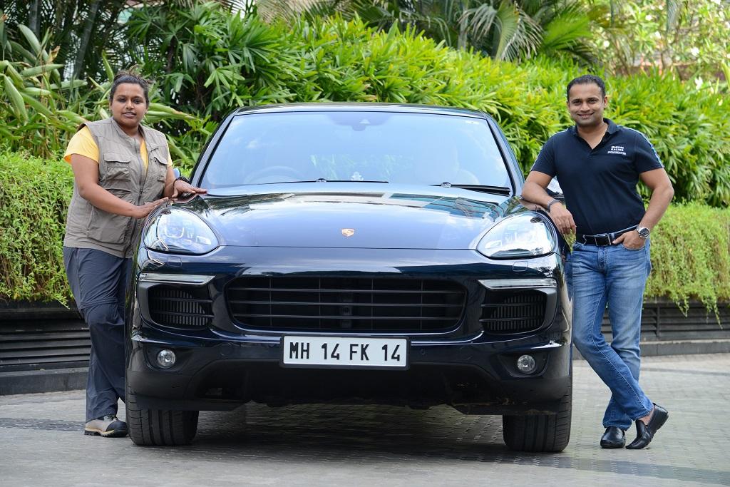 (l-r) Nidhi Tiwari, founder of WBB, and Pavan Shetty, Director of Porsch...