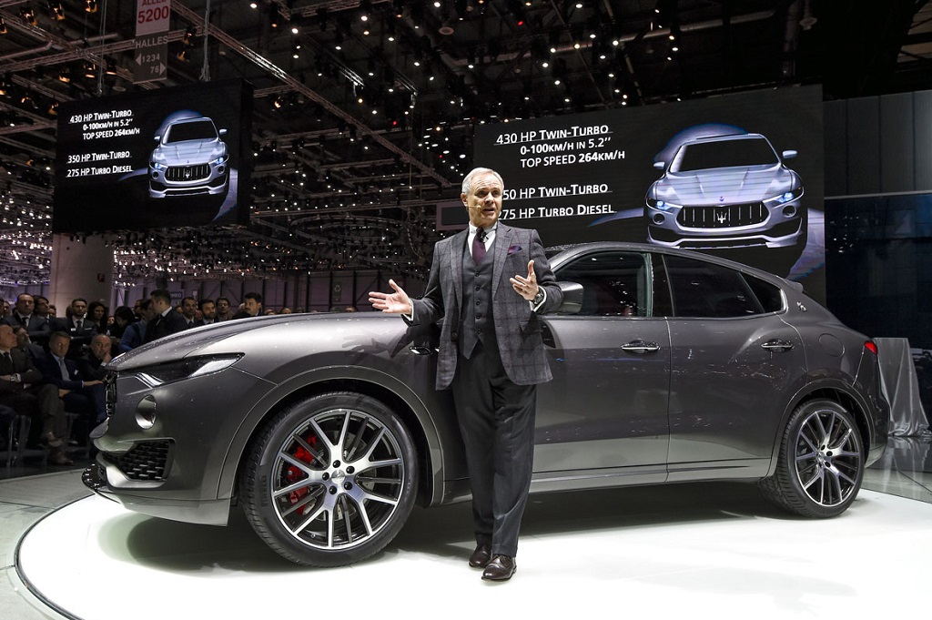 Harald J. Wester, CEO of Maserati unveils the Maserati Levante at the Geneva Motor Show