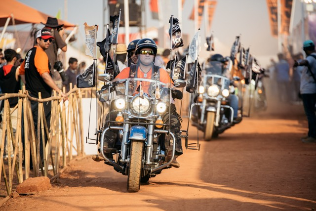 Harley owners entering the India Bike Week grounds