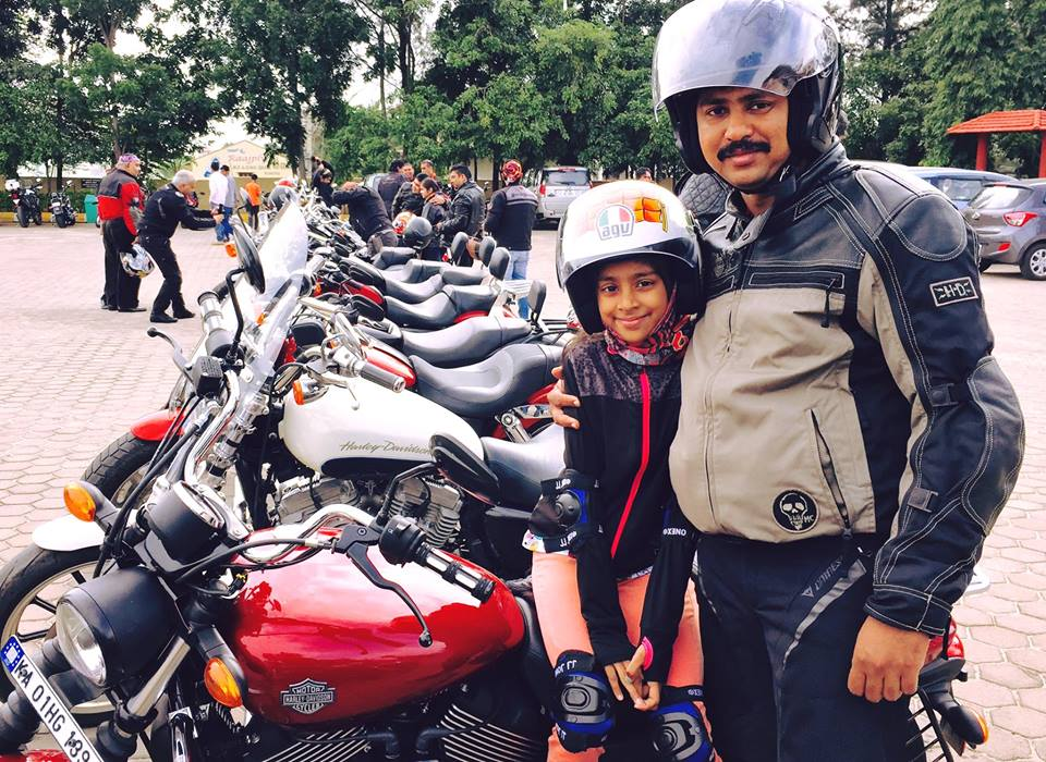 Harley owners gathered with their daughters to celebrate the Father-Daug...