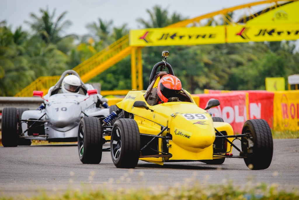 Hot fiery action during Round 1 of the 19th JK Tyre FMSCI National Racing Championship