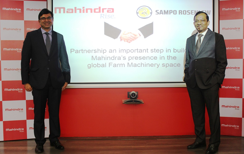Mr. Rajesh Jejurikar, President and Chief Executive, Farm Equipment & Two Wheeler, M&M Ltd and Dr. Pawan Goenka, Executive Director, M&M Ltd. at a press conference in Mumbai to announce a strategic partnership with  Sampo Rosenlew, a combine harvester company based in Finland