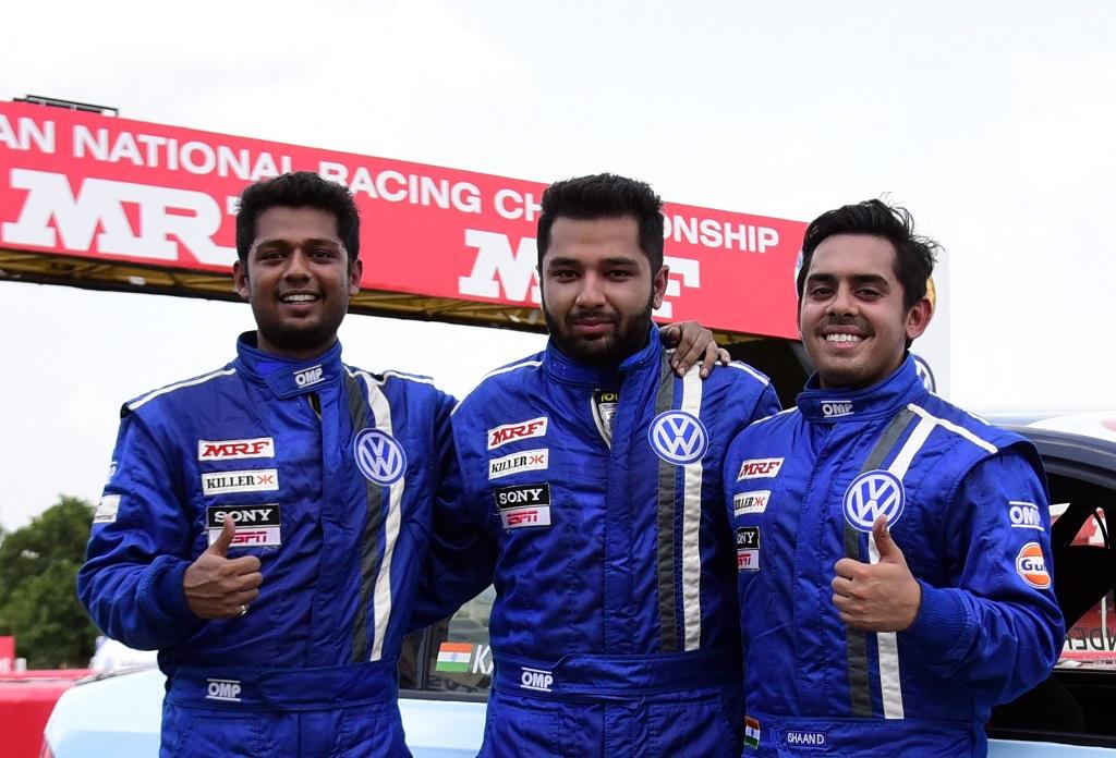 (L-R) Aditya Pawar (3rd), Karminder Pal Singh (1st) and Ishaan Dodhiwala (2nd) after Race 6 of the season