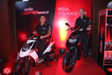 (L to R)) Lorenzo Savadori, 2015 World Champion of Superstock bike racing alongwith Mr. Stefano Pelle, Managing Director and CEO – PVPL at the launch of SR 150 in Mumbai