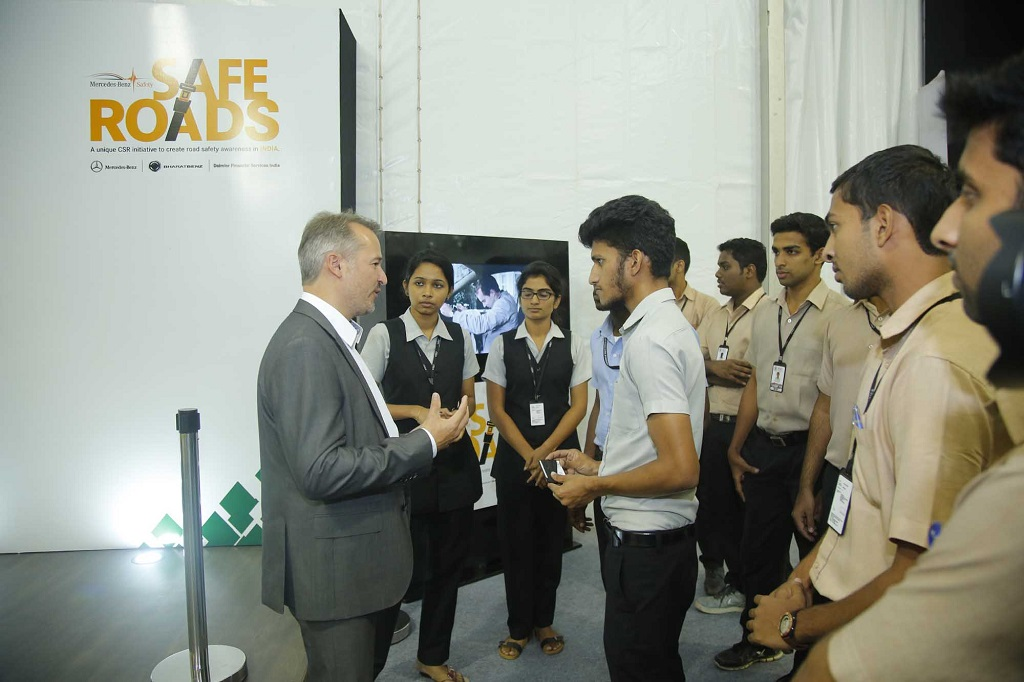 Mr. Jochen Feese, Head of Accident Research, Pedestrian Protection and Sensor Functions, Daimler AMG interacting with students of Rajagiri School of Engg. & Technology