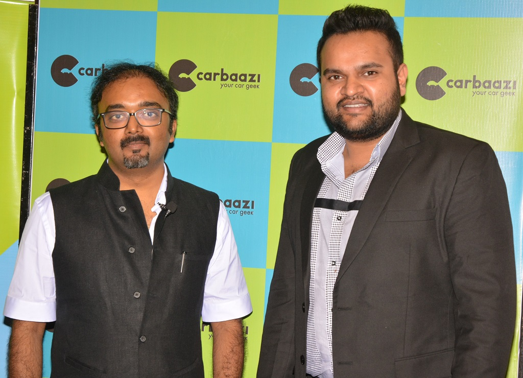 Pic 1- (L) Utsaha Khare, CEO and Co-Founder along with (R) Anuj Agarwal, Co-Founder at the official launch of Carbaazi.com- an unique e-marketplace for new car buying