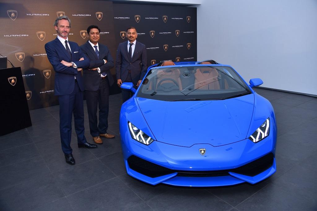 Pic 1 -Mr. Sebastien Henry, Head-Lamborghini Southeast Asia, Mr. Sharad Agarwal, Head-Lamborghini India and Mr. Subramanian K, CEO, Jubilant Motorworks Pvt. Ltd