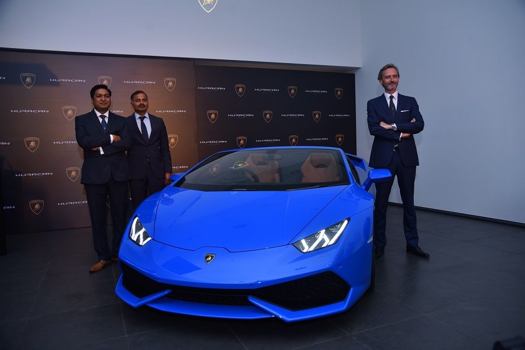 Pic 2 -Mr. Sharad Agarwal, Head-Lamborghini India,Mr. Subramanian K, CEO, Jubilant Motorworks Pvt. and Mr. Sebastien Henry, Head-Lamborghini Southeast Asia at the lauch of Huracan Spyder in India