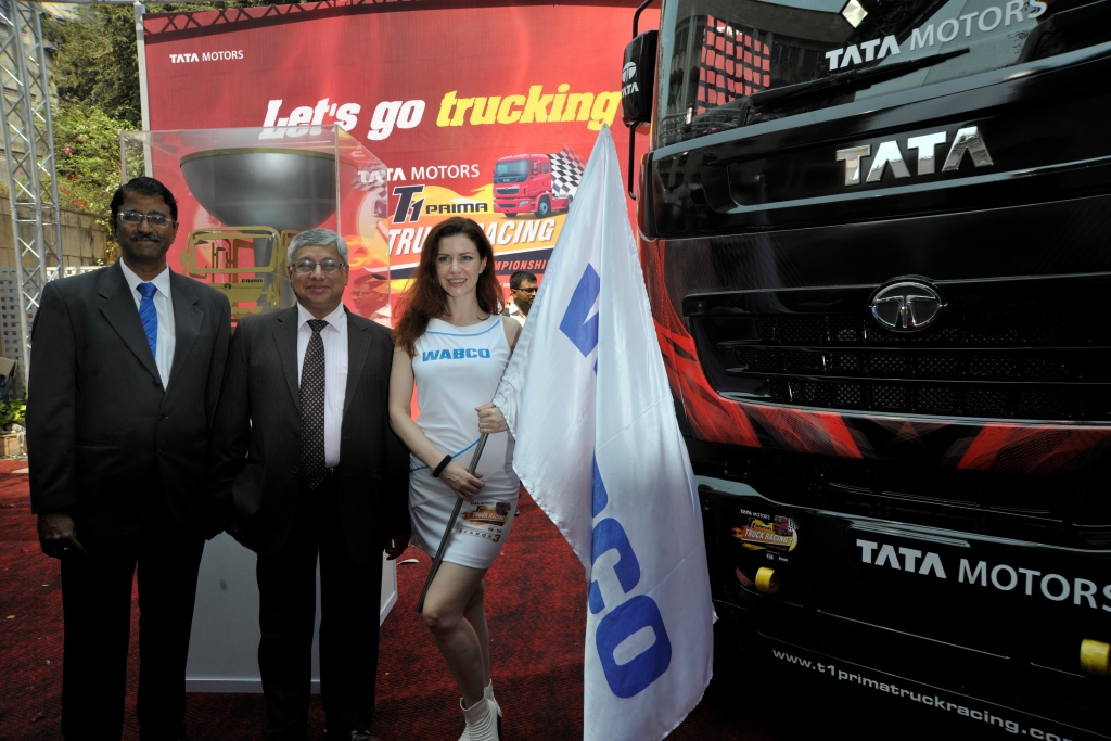 V Ramanathan, Vice president - Sales and Marketing, WABCO India with Mr. Ravi Pisharody, Executive Director-Commercial Vehicles, Tata Motors at the launch of Tata T1 Truck Racing Championship Season 3