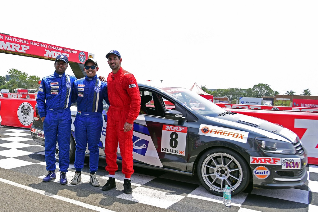 Vento Cup 2016 Race 7 podium finishers - (L-R) Niranjan Todkari (3rd), Ishaan Dodhiwala (1st) and Dhruv Behl (2nd)