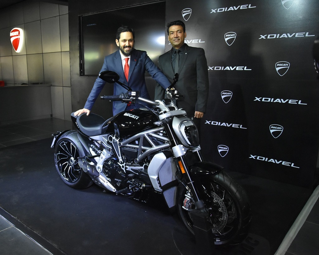 ravi-avalur-managing-director-ducati-india-and-ajay-yadav-vice-president-sales-marketing-amp-group-at-the-launch-of-the-xdiavel-and-xdiavel-s