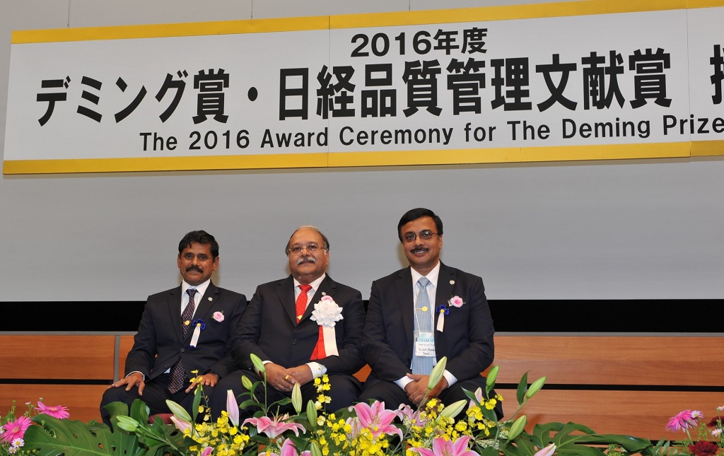 (L-R) – Mr. R. Sivanesan - Senior Vice President, Quality, Sourcing and Supply Chain, Ashok Leyland Limited, Mr. Alok K. Gupta - Vice President, Pantnagar Plant, Ashok Leyland Limited and Mr. Vinod K. Dasari -  Chief Executive Officer and Managing Director, Ashok Leyland Limited at the 2016 award ceremony for the Deming Prize in Japan. Ashok Leyland Pantnagar has become the first truck and bus plant in the world and also the only CV manufacturer outside of Japan to win this prize.