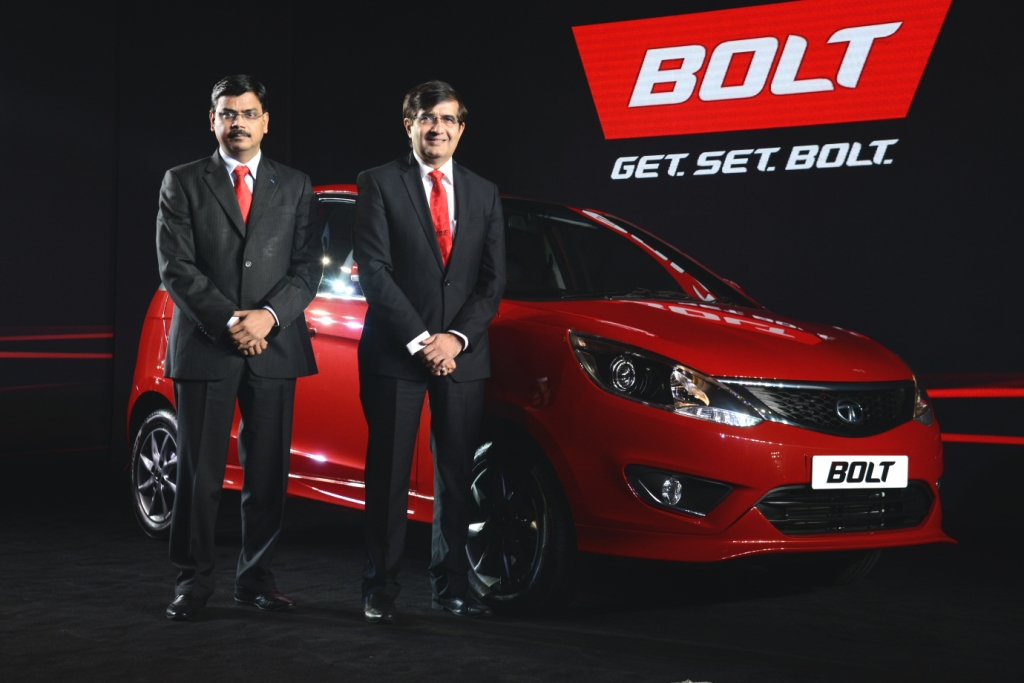 Get.Set.Bolt with the all new sporty hatchback from Tata Motors. (L-R) Mr. Girish Wagh, Senior Vice President, Program Planning and Project Management, Passenger Vehicles Business Unit, Tata Motors Ltd and Mr. Mayank Pareek, President, Passenger Vehicles Business Unit, Tata Motors Ltd at the Bolt launch in Mumbai.