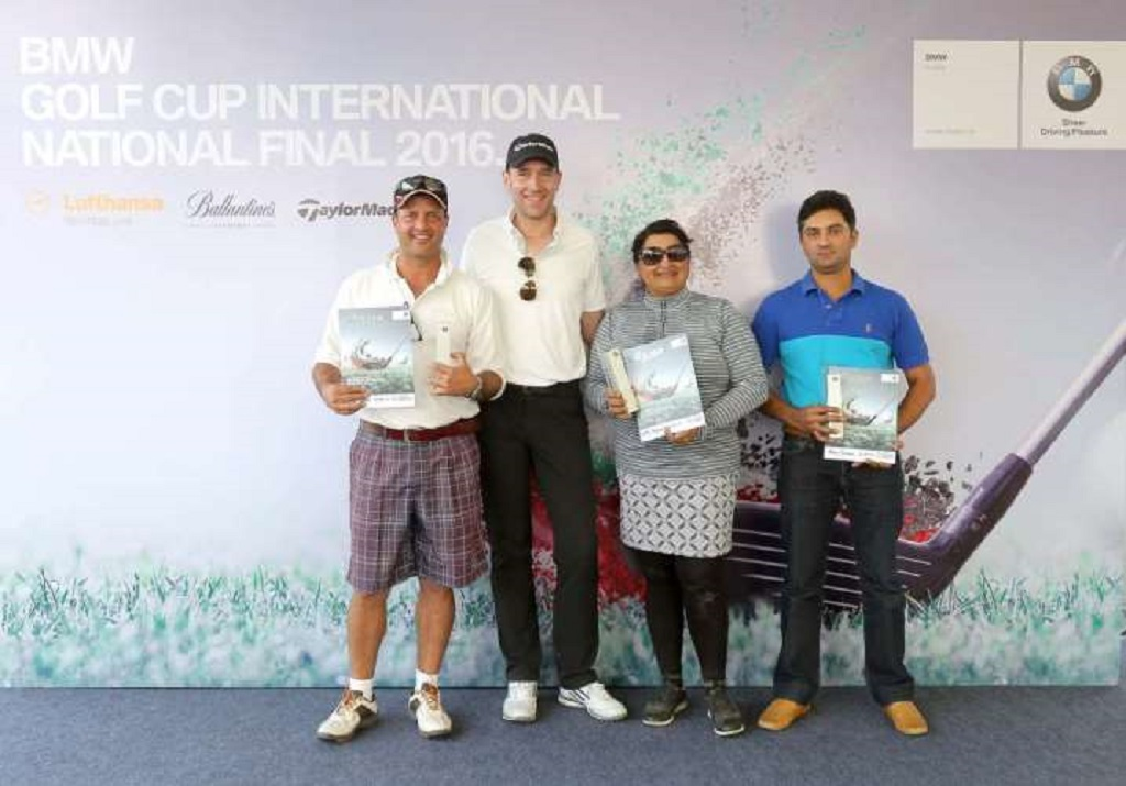 (L-R): BMW Golf Cup International 2016 National Final Winners – Mr. Arshay Kila Chand, Mr. Frank Schloeder, President (act), BMW Group India, Ms. Dolly Manghat and Mr. Anil Kapur